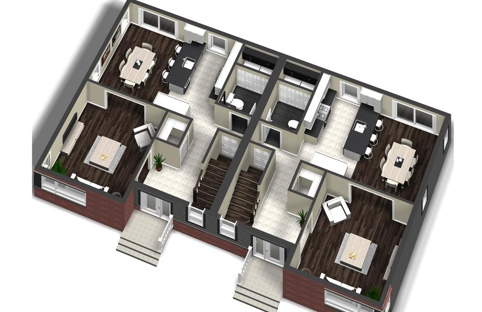 plan de maison jumele stunning jumel bromont with plan de maison jumele plan de jumel with. Black Bedroom Furniture Sets. Home Design Ideas